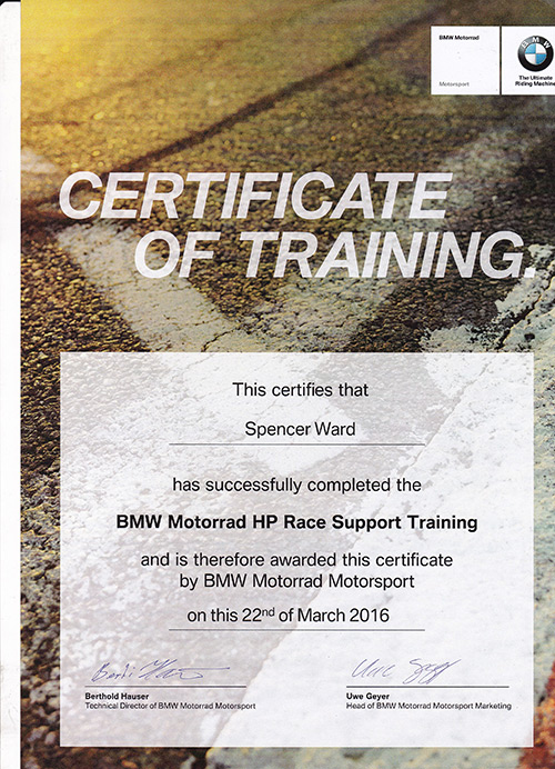 Spencer BMW Training certificate